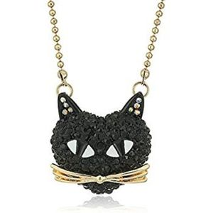 Betsey Johnson black cat pave necklace NWT